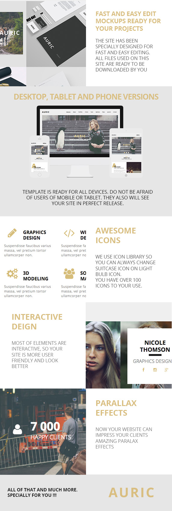 Auric - One Page Modern Muse Template