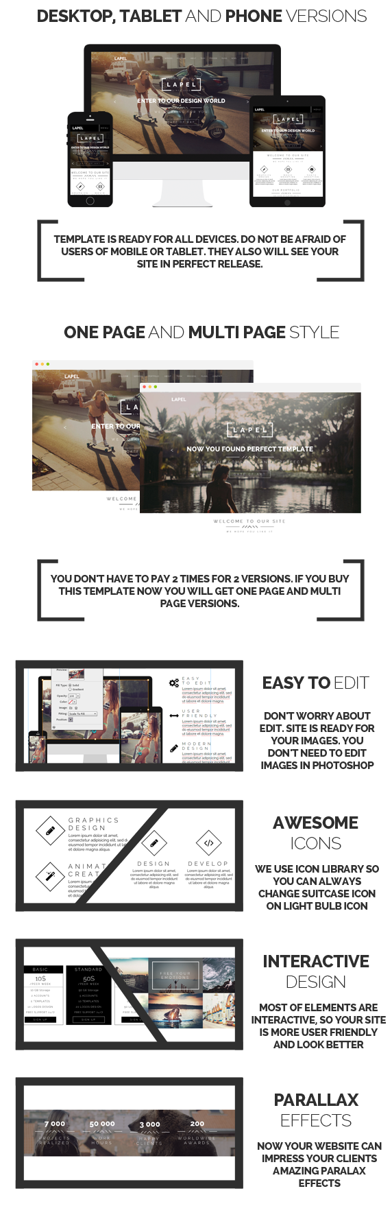 Lapel - One Page & Multi Page Muse Template - 3